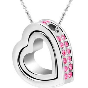 Jewelry - Double Heart Rose Crystal Charm Pendant Chain Neck